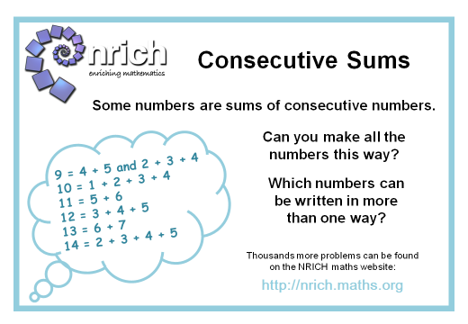 nrich poster for consecutive sums